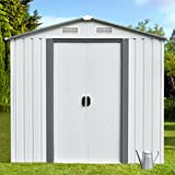 papabox 6' x 4' Storage Shed Steel Outdoor Garden Utility Tool Backyard Lawn Garage with Floor Frame