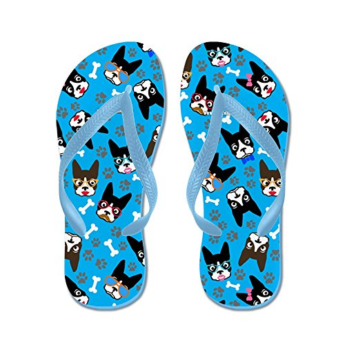 Cafepress Söta Boston Terrier Hund - Flip Flops, Roliga Rem Sandaler, Strand Sandaler Caribbean Blue