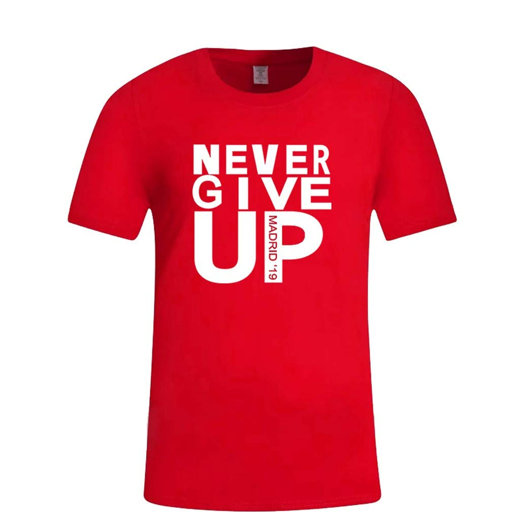 Barthylomo Men's Casual T-Shirt,Never Give Up Print Tee Tops Slim Fit Shirt O-Neck Blouse