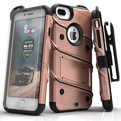 Zizo Bolt Series Compatible with iPhone 8 Plus Case Military Grade Drop Tested Tempered Glass Screen Protector Holster iPhone 7 Plus case Rose Gold