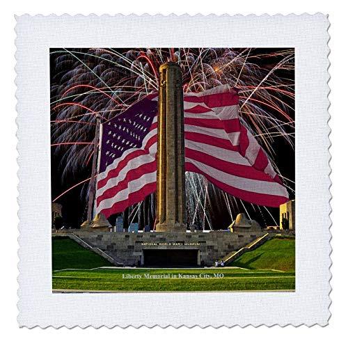 Kansas City Memorial - 3dRose Sandy Mertens Missouri - Kansas City Liberty Memorial with Fireworks and Flag - 10x10 inch quilt square (qs_47348_1)