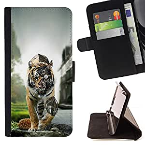 KingStore / Leather Etui en cuir / Samsung Galaxy S4 Mini i9190 / Tiger Steampunk