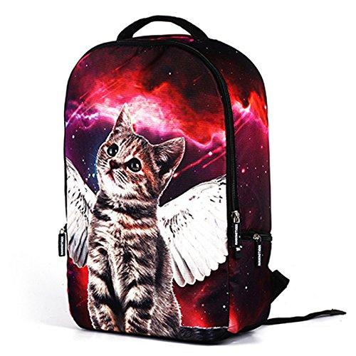 MIYA LTD 3D Cartoon Backpacks Boys,Unisex Fashion Rucksack Laptop Travel Bag Glowing College Bookbag Children's Schoolbag Teenager's Cute Backpack 3D Galaxy Print - Red Cat by MIYA LTD (Image #3)
