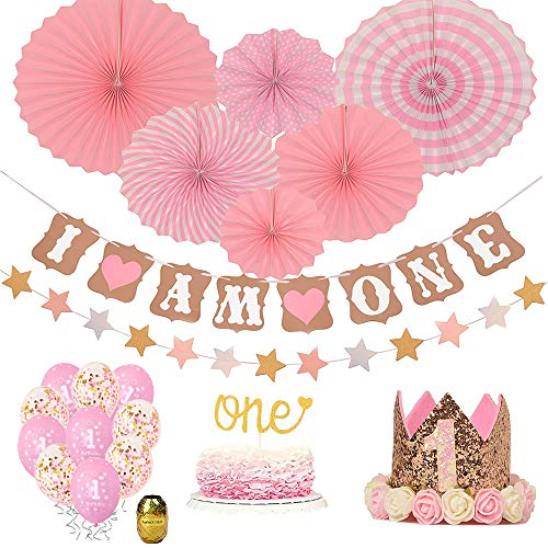 First Birthday Decoration Set for Girl-1st Baby Girl Birthday Party,Pink Hat Crown,Huge 1 Balloon,Confetti Balloons,Paper Garland,Cake Topper -