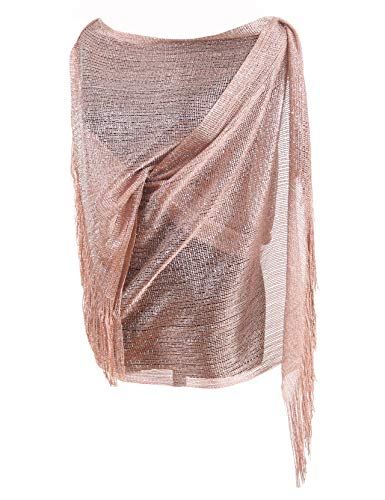 MissShorthair Womens Wedding Evening Wrap Shawl Glitter Metallic Prom Party Scarf with Fringe (Rose Gold)