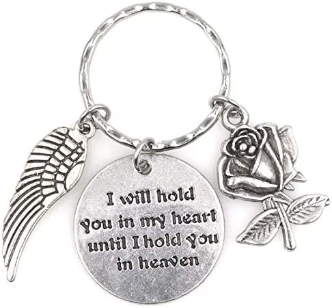 I Will Hold You in My Heart Until I Hold You in Heaven Angel Wing Rose Keychain 114T