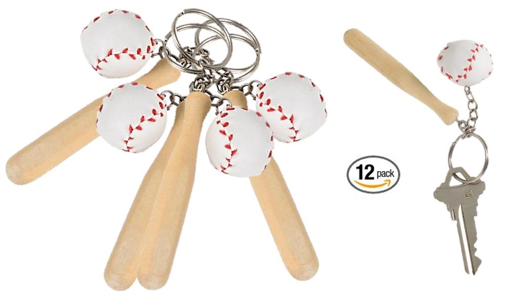 PlayO Baseball Keychain with Bat - 12 Sports Backpack Clips - Great Sports Party Favors / Baseball Souvenirs