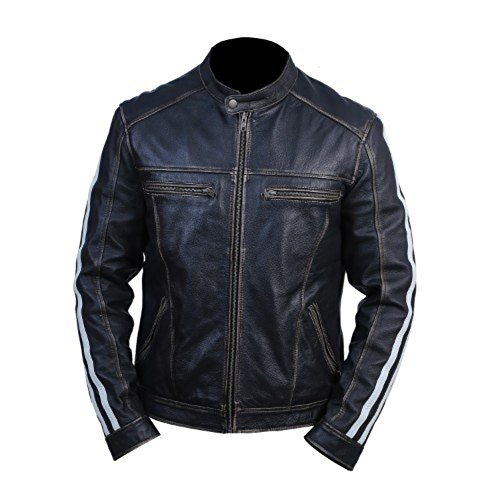Express Leather Jacket Mens (Resident Evil Leon Kennedy Genuine Real Leather Jacket (M))