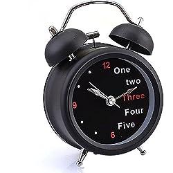YIWULA Classic Number/English Retro Double Bell Desk Table Alarm Clock (B)
