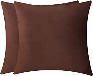 GUHOO Pack of 2 Soft Velvet Square Decorative Throw Pillow Cushion Covers Pillowcase Home Decor Decorations for Bed Chair Sofa Couch 20x20 Inch/50x50cm (Coffee)