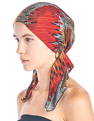 Abstract Rosette - Ashford & Brooks Women's Pretied Printed Fitted Headscarf Chemo Bandana - Red/Brown/Black Abstract