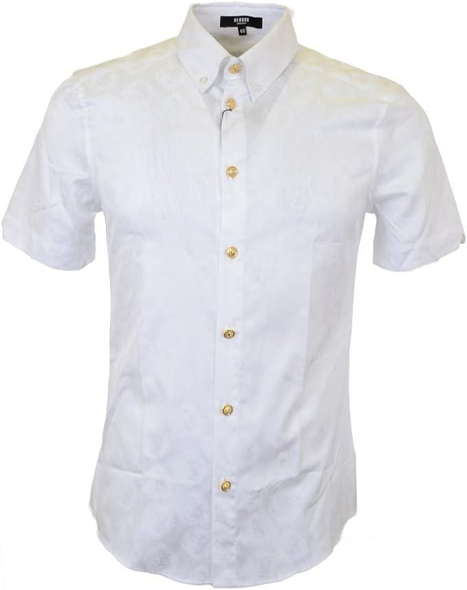 Versace Botón de Manga Corta Para de Plumón de Camisa Blanca: Amazon.es: Ropa y accesorios