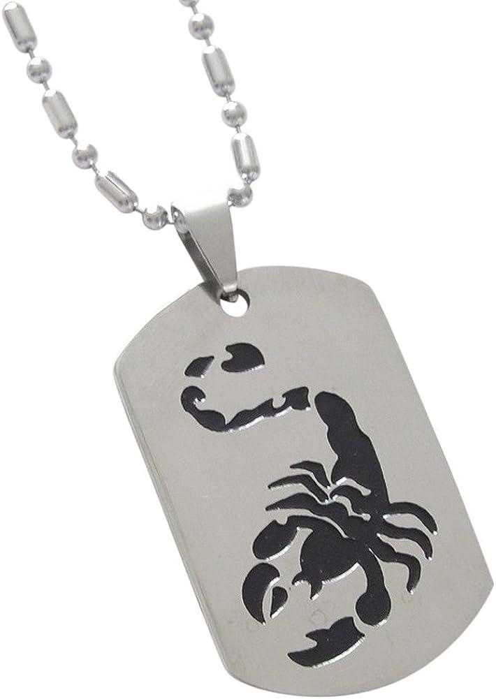 Collar con colgante, diseño de escorpión negro placa militar cadena.: Amazon.es: Joyería