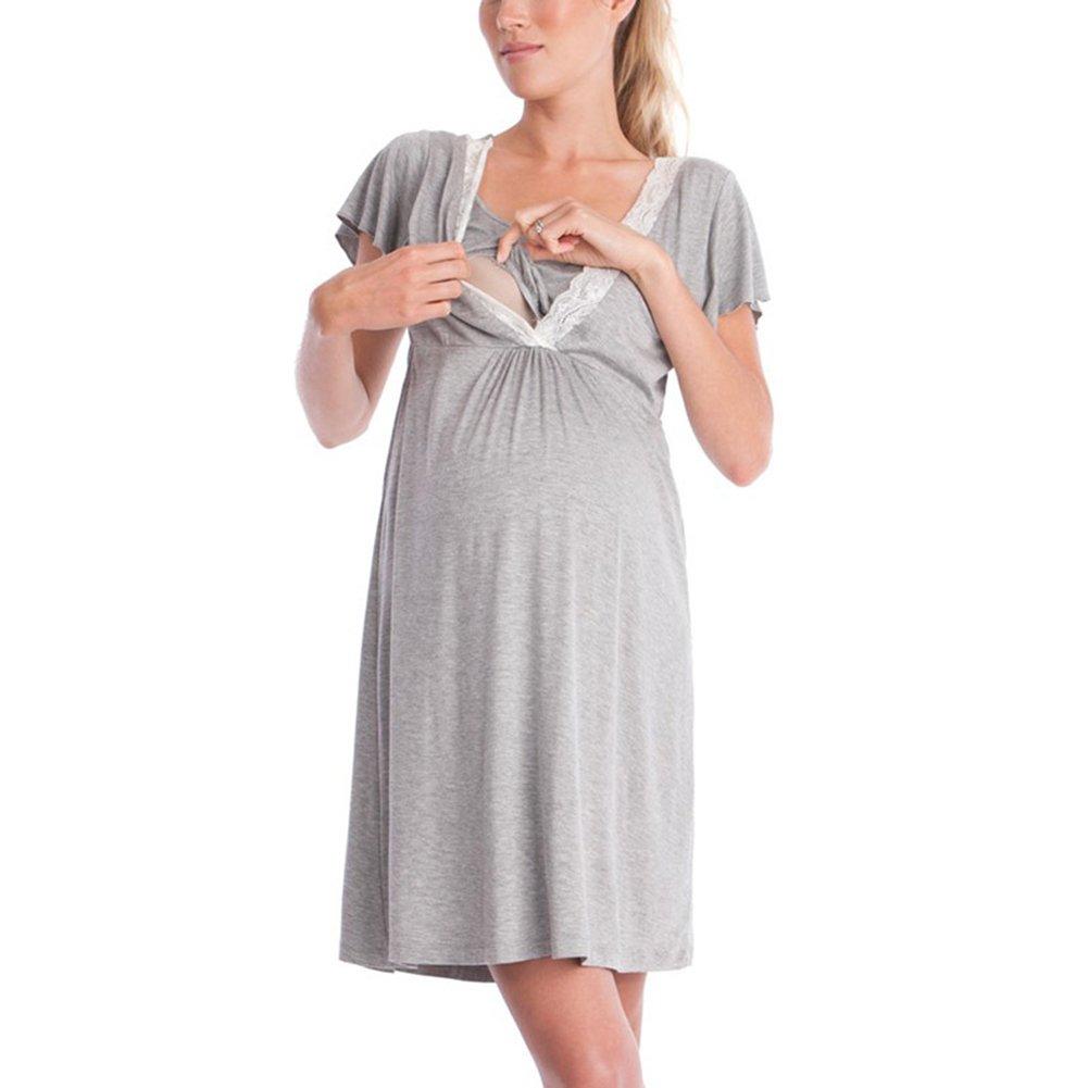MEIHAOWEI Kurzarm-Kleid Still-Pyjama für Schwangere Schlafanzüge Still-Nachthemden für Stillende Mutter