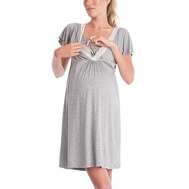 Hibote Camisón de Lactancia Maternidad de Las Mujeres Vestido de Maternidad de Lactancia: Amazon.es: Ropa y accesorios