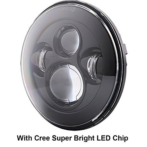 7 inch LED Headlights Daymaker DOT with Cree Chip Fog Lights Bulbs Set Kit Projector for Jeep Wrangler JK LJ JKU TJ CJ Sahara Rubicon Freedom Dragon Edition Unlimited Hard Rock Sport Headlamps Black by TRUCKMALL (Image #2)