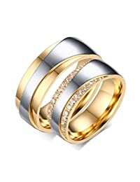 Stainless Steel Mens Womens CZ Couples Rings for Wedding Band Engagement Promise Bridal Set,Gold