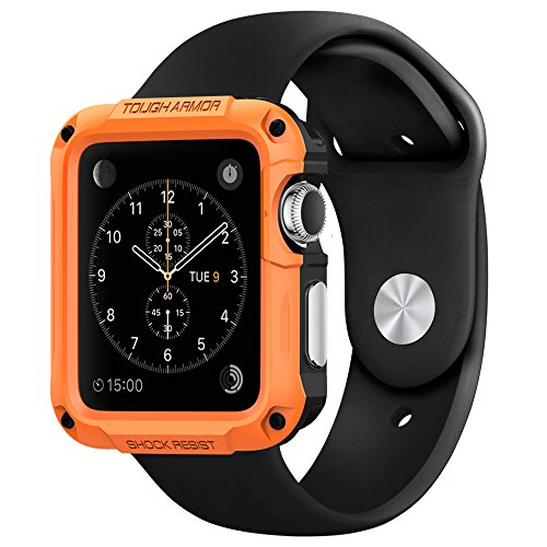 Apple Watch Case Spigen [Built-In Screen Protector] Apple Watch 42mm Case Protective NEW [Tough Armor] [Tangerine Tango] EXTREME Protection  Front Built-In Screen Protector Cover  Rugged but Slim Dual Layer Protective Cover for Apple Watch 42m...