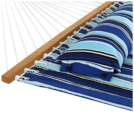 Garden and Outdoor Sunnydaze Quilted Fabric Hammock Two Person with 12-Foot Stand and Spreader Bars, Freestanding Outdoor Heavy Duty 350… hammocks