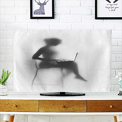 PRUNUS Dust Resistant Television Protector Silhouette of a Pretty,Slim Woman with Laptop and Chair tv dust Cover W30 x H50 INCH/TV 52'' by PRUNUS (Image #6)