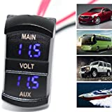 Dreamyth 5-60V Dual Voltmeter Voltage Red LED Digital Pane lfor Dual battery Pickup Car Practical