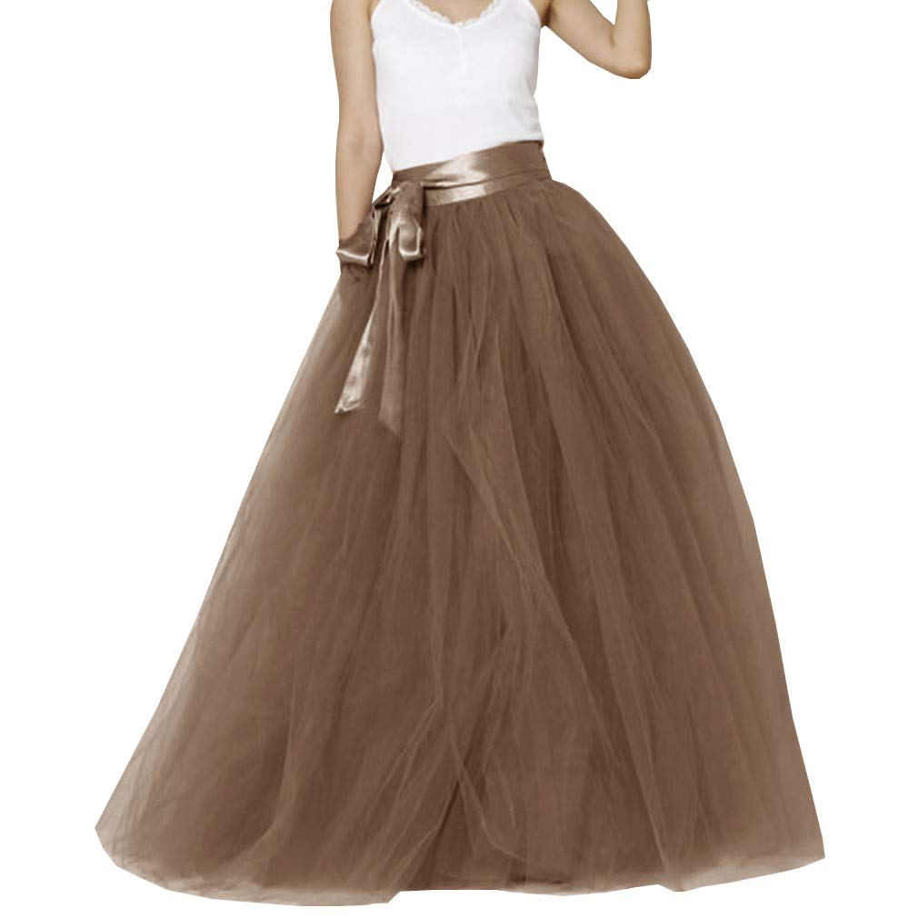 Chocolate Lisong Women Floor Length Bowknot 5Layered Tulle Party Evening Tutu Skirt