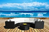 Outdoor Patio Furniture Sofa Sectional Wicker 5pc Round Resin Couch Set For Sale