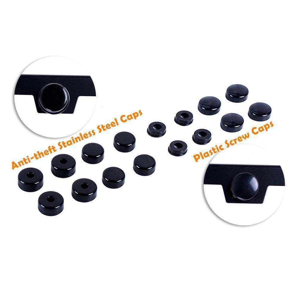 20 Pack Black Full License Plate Screw Caps Cover Rings Hardware Set