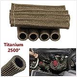 TITANIUM 8 PCS 1800° Spark Plug Wire Boots Heat Shield Protector Sleeve SBC BBC
