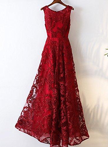 O Ballkleid Ausschnitt Rot Abendkleider Lang Damen LuckyShe Ärmellose Elegant Spitze vpX0w