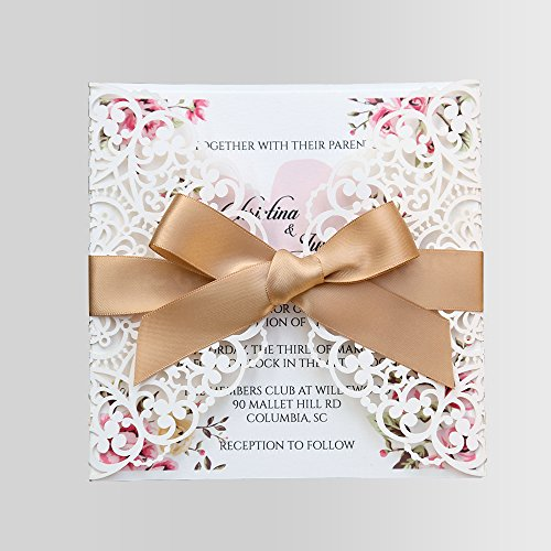 Fall Party Invitation Wording (Doris Home Square Wedding Invitations Cards Kits Fall Bridal, Baby Shower Invite, Birthday Invitation Wedding Rehearsal Dinner Invites, Autumn Engagement Bach with Gold Bowknot Hollow,1pc,W0004G)
