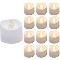 Actpe Tealight Candles with Flickering Flame, 12pcs LED Tea Lights Wax Dripped Battery Operated Candle Unscented Small…