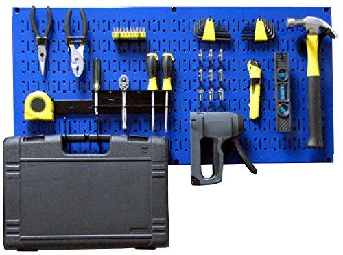 Wall Control Modular Pegboard Tool Organizer System - Wall-Mounted Metal Peg Board Tool Storage Unit for Pegboard Tiling (Blue Pegboard)]()