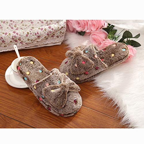 Dot House Brown Plush Toe Slipper Shoes Scuff Luobote Women Fashion Bow Closed Slippers gWv4FI