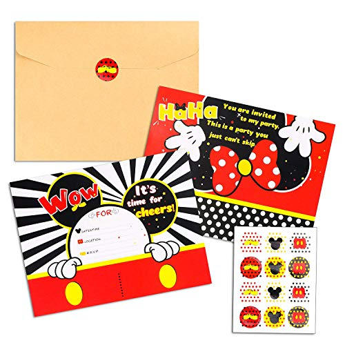 BEYUMI 36 PCS Mickey Party Invitation Cards Mickey