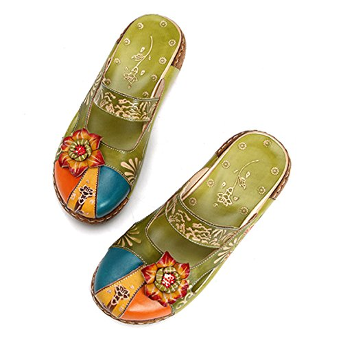 Women's Leather Slipper Ladies Summer Slip on Flat Sandals Vintage Colorful Flower Backless Loafer Shoes Green