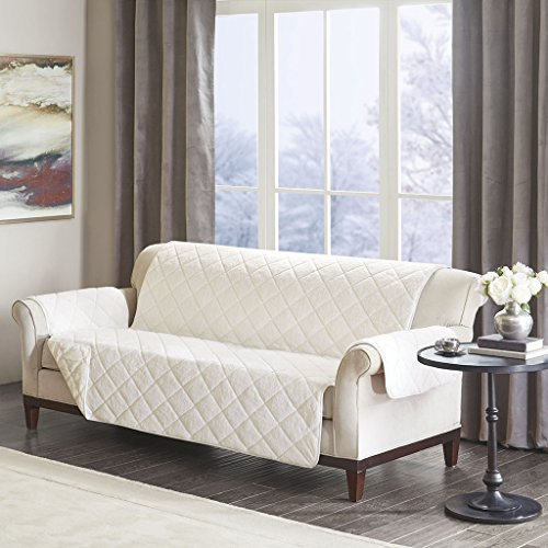 Madison Park Arctic Checkboard Long Faux Fur Ultra Soft Quilted Sofa Couch Cover Protector Chair Slipcover With Elastic Straps, Size, Ivory ()