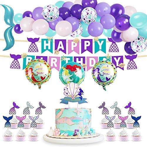 DMIGHT Mermaid Party Supplie for Kids Birthday Party Decorations Includes Banner 25 Cake Toppers 50 Latex Balloons 5 Foil Balloons