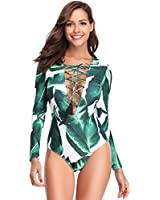 30bf7c278093d Jual KaleaBoutique Women Misses Zip Front Short Sleeve Swimwear Rash ...