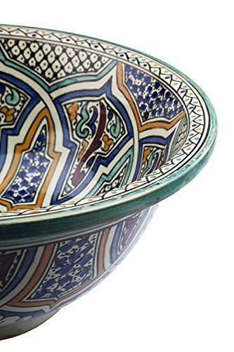 Summer Offer Round Rabat//Turquoise Ceramic Hand Painted Moroccan Bathroom Sink Basin Di 40 cam H 16 cm Painted Inside Out Summer Offer