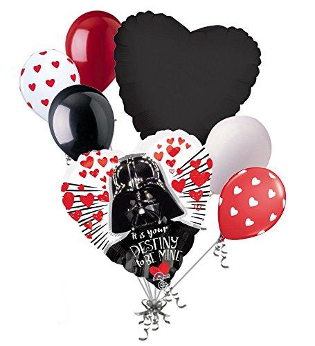 7 pc Star Wars Darth Vader Heart Happy Valentines Day Balloon Bouquet Kiss Love Day Balloon Bouquet