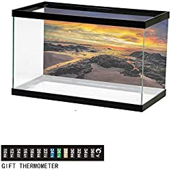 "bybyhome Fish Tank Backdrop Beach,Majestic Sunrise Sky,Aquarium Background,72"" L X 24"" H(183x61cm) Thermometer Sticker"