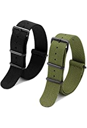 2pc 20mm Nato Nylon Strap Black , Army Green Replacement Watch Strap Band-Black Pvd Buckle
