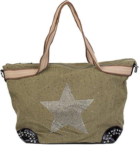 styleBREAKER bolso de mano en óptica de tela con estrella de estrás y remaches, bolso de hombro, bolso de tipo «shopper», señora 02012066, Color Gris pardo Verde Oliva