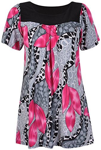Imprim EU Dames Courte tirement Size T dgage 56 Rouge Fashion Floral 42 Tunique Floral Top Shirt Encolure Taille Grande Rond Haut Manche 4IaIx0