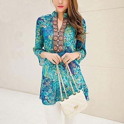 WYHUI Chiffon Women Blouses Bohemian Indian Tops Summer Blusas Long Shirt Blouse Dress Ladies Blouses Shirts