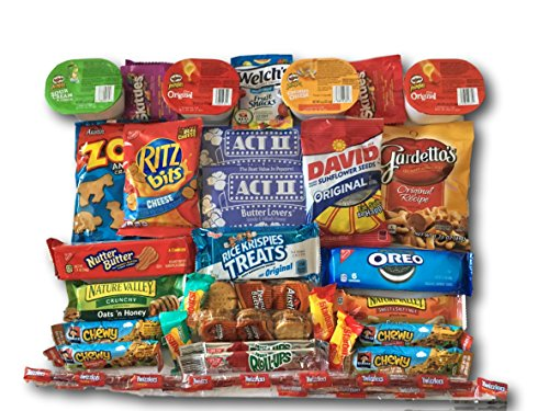 Sweet Salty & Savory Snacks Care Package by AtHomePlus (40 Count) --Perfect Gift for College Dorm, Military or Office!! (College Student Gift Basket Ideas)