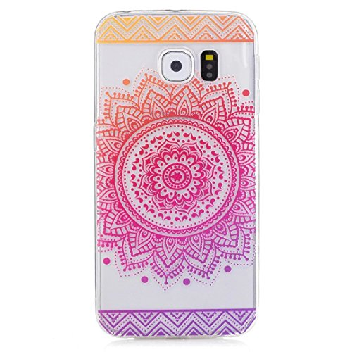 KSHOP Samsung Galaxy S6 Edge TPU Soft Case Transparent TPU Silicone Cover Bumper ShellColorful Pattern Design Clear Crystal Protective Back Bumper Shell-Rose Mandala