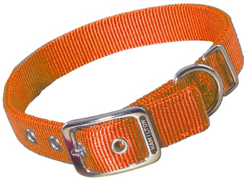 Image of Hamilton Double Thick Nylon Deluxe Dog Collar, 1-Inch by 20-Inch, Mango Orange