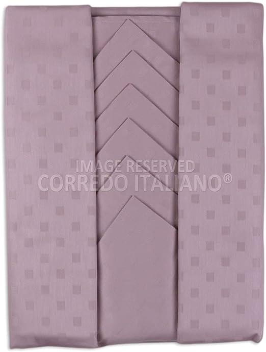 servicio mantel con servilletas en PURO Algodón damasco damina X6 personas – 150 x 180 cm,% Made in Italy Cipria: Amazon.es: Hogar